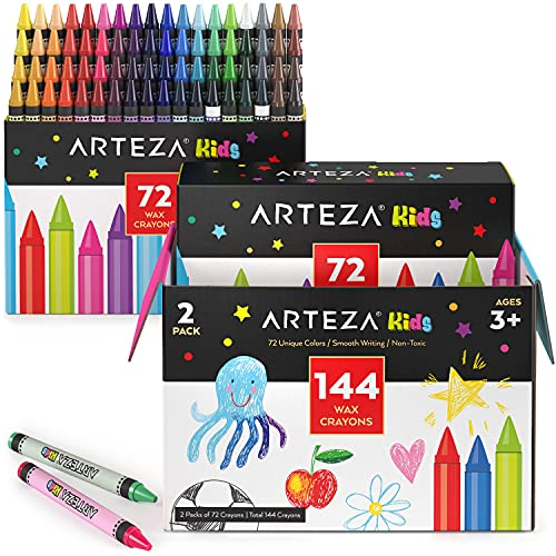 Arteza Kids Toddler Crayons in Bulk, 144 Count, 2 Packs of 72 Colors, Regular Size, Vivid Wax Crayon Pencils, Art Supplies for Kids Craft and Drawing Activities
