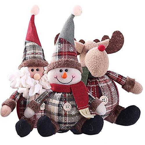 Muñecos De Peluche Navideños, Decoraciones Adorno Navideño De Muñeco De Nieve Sentado De Papá Noel, Alce Animado Muñeco De Nieve De Papá Noel Figura Decoraciones De Estatuilla De Navidad, Paño Suave