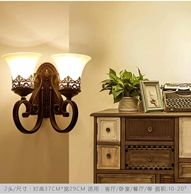 WENYA Amerikanische Einfache Retro Wandlampe Wohnzimmer, Esszimmer, Flur, Hotel Wandleuchte E27 Scheinwerfer (Keine Lichtquelle), Doppelt