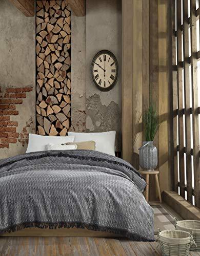 Belle Living Alvine Flanell Tagesdecke Überwurf Decke - Warme Wohndecke ideal für Bett und Sofa, 100% Baumwolle 185x235cm (Grau)