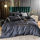 Juego de ropa de cama con funda de edredón,Xia Siki Down traje 4 sets, cama europea sedosa para la piel camas individuales para la piel, usado en la habitación de los niños regalo de la habitación-B_
