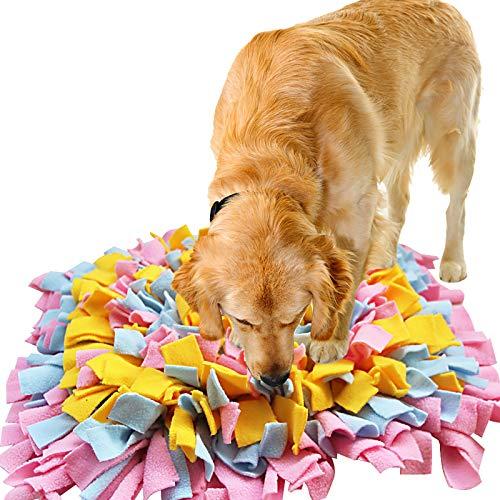 IEUUMLER Snuffle Mat para Perros Estera de alimentación Estera de Entrenamiento Manta para la Nariz Juguete de Juego IE075 (45x45cm, Pink & Yellow & Blue)