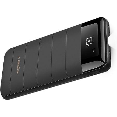 モバイルバッテリー X-DRAGON 大容量 (20100mAh 2USB出力 2A入力 LCD Digi-Power技術 高品質電池 急速充電 LED懐中電灯) iPhone Android カメラ等対応 スマホ急速充電器 地震防災旅行