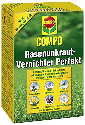 Compo Rasen Unkrautvernichter Perfekt, Vernichtung von schwerbekämpfbaren Unkräutern, Konzentrat, 3 x 200 ml (600m²)