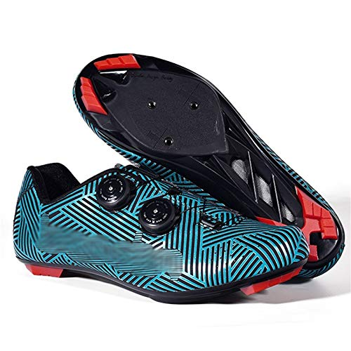 LQX Men Road Cycling Shoe Cleats MTB Bicycle Shoes Non-Slip Breathable Mountain Bike Shoe Lightweight Rotating Cycle Shoes for Hiking Travel (Color : Blue, Size : UK-7.5/EU41/US-8)