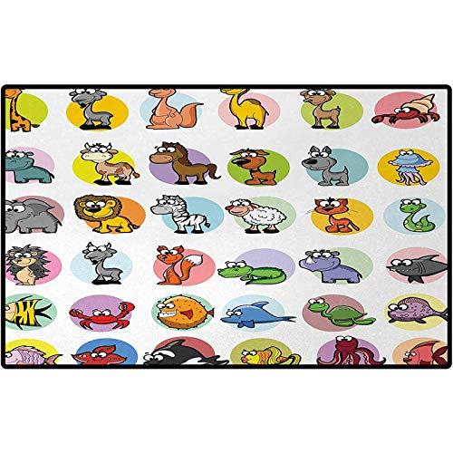 Zoo Entrance Doormat Funny Cute Cartoon Style Animals Set Colorful Dots Doodle Jungle Life Kids Room Design Indoor Outdoor, Waterproof,Mat for Floor, Patio 60x30 Multicolor