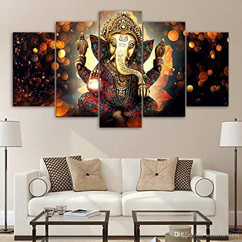 GHYTR Cuadro En Lienzo Decoracion 5 Piezas HD Imagen Impresiones En Lienzo Póster Pintura Dios Hindú Ganesha Elefante 5 Piezas Cuadro Moderno XXL 150X80Cm Murales Pared Oficina Decor