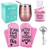 Wine Tumbler with Saying + Cupcake Wine Socks Gift Set,12 oz Stainless Steel Double Insulated Stemless Wine...