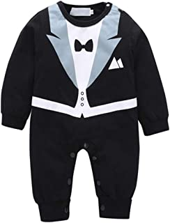 Baby Boy Romper Tuxedo Jumpsuit Gentleman One-Piece Romper Bowtie Bodysuit