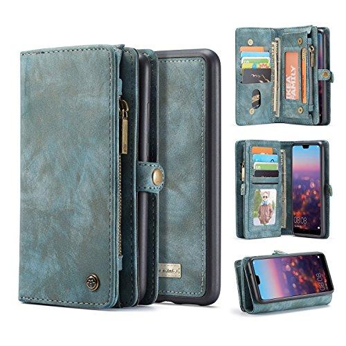 Cambiar las piezas sustituidas Jornada For Huawei P20 caso, dos en Uno-Multi-funcional hechos a mano del Monedero de cuero del caso con la tarjeta de crédito y las ranuras de la cubierta desmontable,