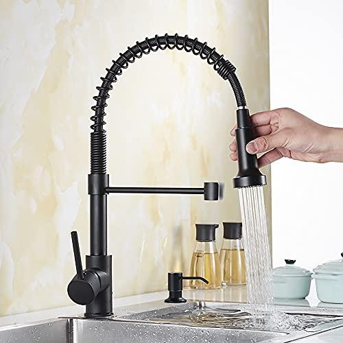 Meowstic® Wasserhahn Küche 360°Drehbar,Küchenarmatur mit Spiralfeder,Ausziehbar Küchenarmaturen mit Brause (Schwarz)