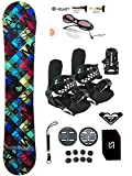 140-144cm Modern Santa Monica Red BLK Womens Girls Snowboard +Bindings Package +Leash+Stomp+Sunglasses+ Roxy Decal (Bindings Black S (fit 6-9), 140cm Santa Monica Red Blk(AZ14))