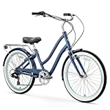 sixthreezero EVRYjourney Women's 7-Speed Step-Through Hybrid Cruiser Bicycle, 26' Wheels and 17.5' Frame, Navy with Black Seat and Grips