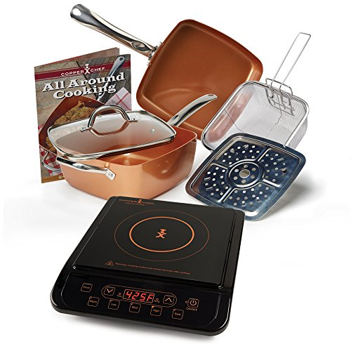 """Copper Chef 9.5"""" Deep Square Pan 6 Piece Set with Induction Cooktop (Black Induction Cooktop)"""