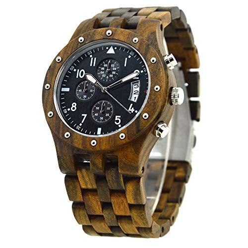 Kempp Holzuhr Herren Damen Holzuhren Armbanduhr für Analoge Quarz Holz Armbanduhr Quarz Holzuhr Uhren Herren Damen Armbanduhr aus Naturholz Leichte Stille