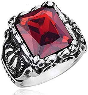 Men's Titanium vintage large crystal stainless Steel dragon claw cross ring gothic biker red square Ring -Size 8