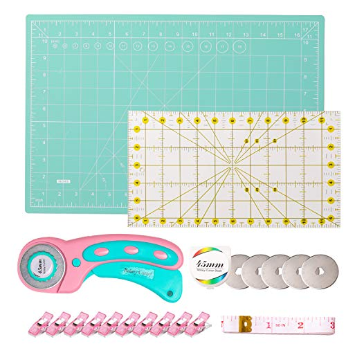 Rotary Cutter Set, with 45mm Rotary Fabric Cutter, 5 Pcs Replacement Blades, 12x18 Inch (A3) Self Healing Cutting Mat, Acrylic Ruler, Soft Tape Measure and 10 Sewing Clips for Crafting, Quilting