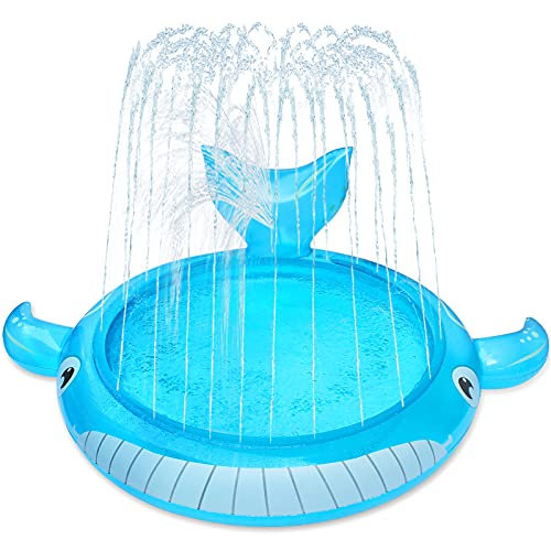 LUKAT Sprinkler & Splash Pad for Kids, Splash Play Mat Wading Pool for Toddler Baby, Inflatable Whale Water Toys for 1-12 Year Old Girls Boys in Garden/Backyard/Beach Outdoor Inflatable Kiddie Pool