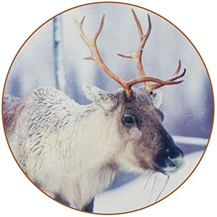 LORVIES Caribou Reindeer Pasturing Snowy Landscape Leather Coasters Round Heat Resistant Cup product image