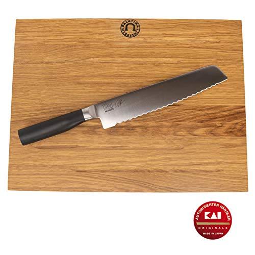 Kai Shun Tim Mälzer Kamagata | Brotmesser (TMK-0705) | + | großes massives Kai-Schneidebrett (Eiche), 40x30 cm | + hochwertiges Poliertuch | VK: 179,- €