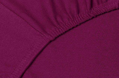 #9 Double Jersey Jersey Spannbettlaken, Spannbetttuch, Bettlaken, 160x200x30 cm, Burgundy - 4