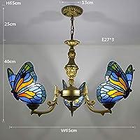 ヴィンテージティファニースタイルのペンダントランプシェードとステンドグラスの蝶の天井ランプ、ルーム、キッチン、ベッドルーム、リビングルームのインテリアを食事のための装飾的な天井灯ペンダントライト,12