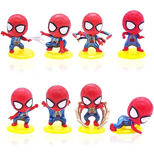 BESTZY 8 Pezzi Mini Figures Set Decorazioni Torta Spiderman Decorazioni per Torte di Compleann Festa Cake Topper Cartoni Animati Decorazioni per Bambini Compleanno Shower Party