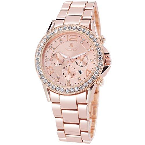 XLORDX Classic Designer Datum Strass Damenuhr Rosegold Uhr Edelstahl Chronograph Optik Silber Strassuhr Armbanduhr