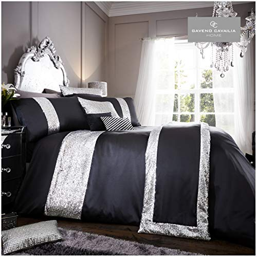 Gaveno Cavailia Glamorous Glitter Shiny Duvet Cover with matching Pillow Cases, 100% Polyester Reversible Quilt Set, Soft & Cosy Bed Linen, Black Bedding Double Size