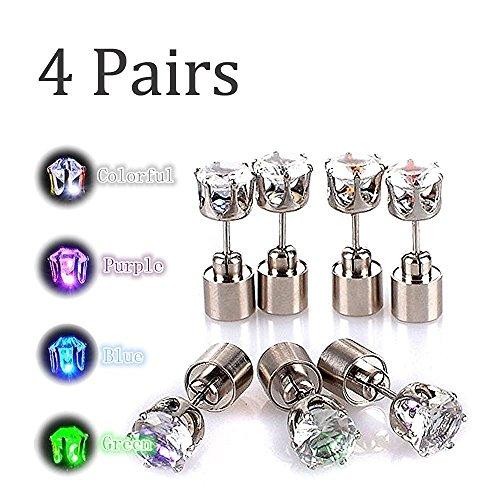 Kailian LED Ohrringe, 4 Paar Taschen, Party Bar Halloween Mehrfarbige Lichter, Super Helle Edelstahl Diamant Krone Ohrringe