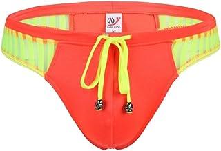 sandbank Men's Sexy Low Rise Mesh Thong Swim Briefs - orange - X-Large