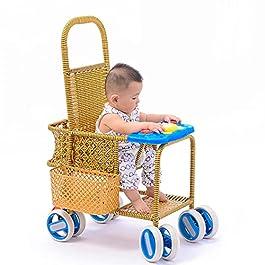Chariot Léger pour Enfants Chariot Tissé en Bambou Et Rotin Chariot De Chaise en Rotin Simple D'été Adapté Aux Enfants…