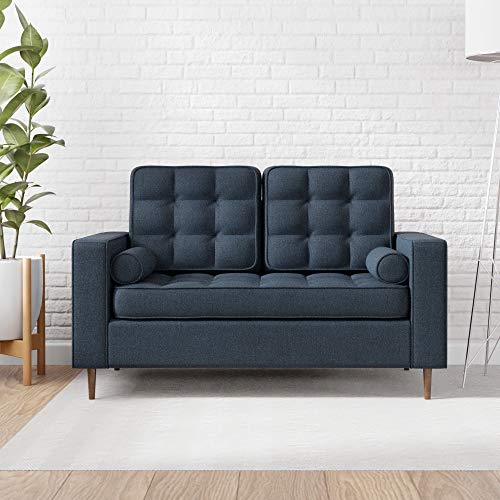 Edenbrook Lynnwood Upholstered Loveseat with Square Arms and Tufting-Bolster Throw Pillows Included,...