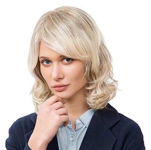 La Vogue Cheveux Vrai Humain Ondulé Bob Mi-Longue 40cm Perruque Femme Blonde #2
