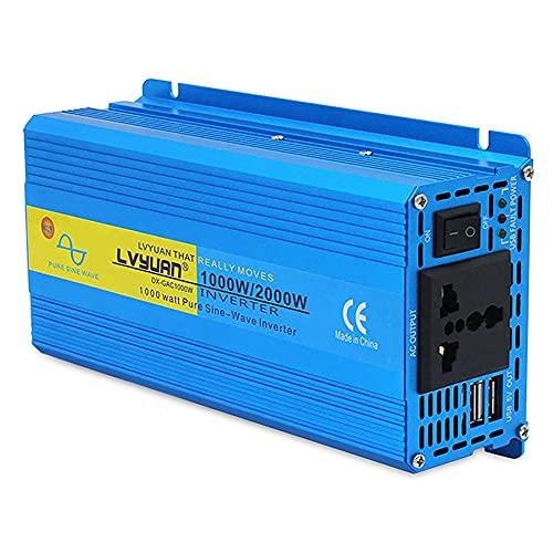 LUOQI Inversor de Corriente 1000W Onda Sinusoidal Pura Convertidor 12v a 220v 230v,Transformador con 2x2.4A Puertos de USB y Toma de AC, Pinza y Cable Encendedor Cigarrillo Automóvil