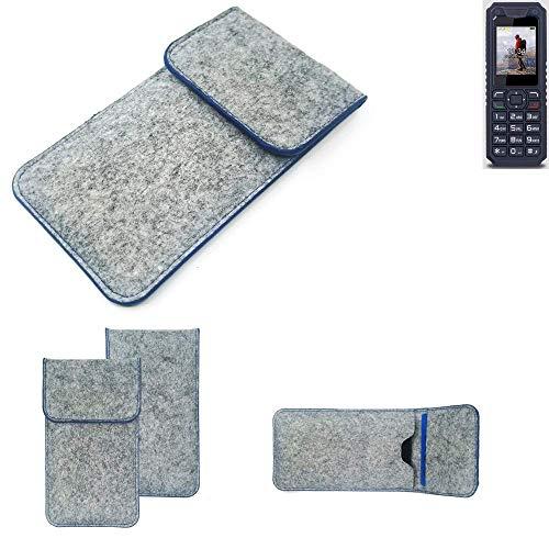 K-S-Trade Handy Schutz Hülle Für Bea-fon AL250 Schutzhülle Handyhülle Filztasche Pouch Tasche Hülle Sleeve Filzhülle Hellgrau, Blauer Rand