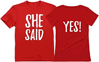 She Said Yes ! - Engagement Wedding Matching Valentine's Day T-Shirt for Couples