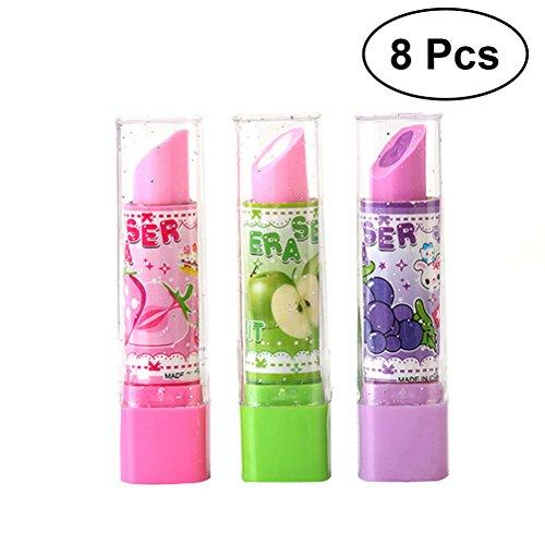 TOYMYTOY 8 stücke Lippenstift Form Radiergummi Kreatives Briefpapier Obst Muster Radiergummi Kreatives Geschenk für Kinder Studenten (Gelegentliche Farbe)