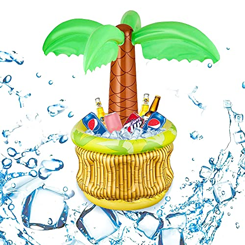 Sunshine smile Raffreddatore per bevande gonfiabile, con refrigeratore per bevande, refrigeratore gonfiabile in PVC, palma hawaiano, palma...