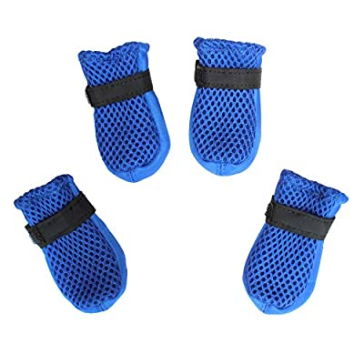 Hiado Dog Shoes Boots with Mesh Nonslip Rubber Soles to Protect Hardwood Floor and Prevent Scratching Licking Blue XXXS