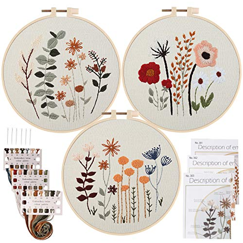 Uphome 3 Pack Embroidery Starter Kit for Beginners Stamped Cross Stitch Kits with Cute Flowers and Plants Patterns with Embroidery Hoops and Color Threads for Adults Kids
