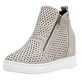 XOXSION Zapatos de ocio para mujer, zapatos planos, para el tiempo libre, con cabeza redonda, zapatos grandes, zapatos para caminar al aire libre, ligeros, para correr por la calle., gris, 40 EU