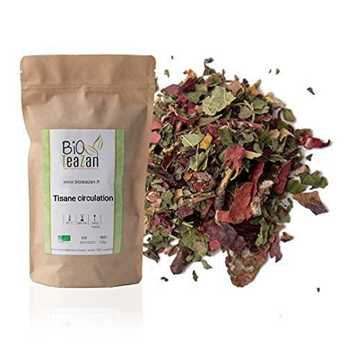 Bioteazan-Tisane circulation-sachet 100g-recette maison-fabriquée en France *cassis*aubépine*menthe poivrée*hibiscus*vigne rouge