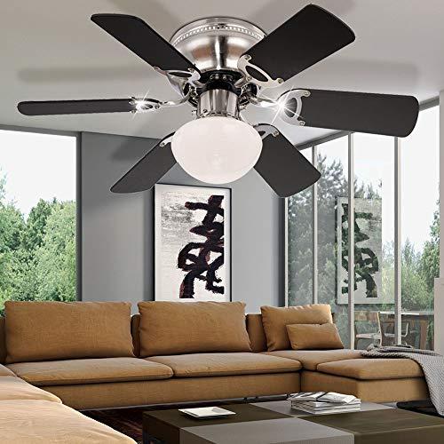 Decken Ventilator Lüfter Kühler Lampe Leuchte Beleuchtung MDF Graphit MDF Buche 2-Flügel-Farben 3 Stufen Vor-Rücklauf
