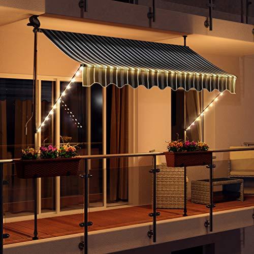 Swing & Harmonie LED - Markise mit Kurbel Klemmmarkise Balkonmarkise mit Beleuchtung und Solarmodul Fallarm Markise Sonnenschutz Terrasse Balkon (200x150, grau/Weiss)