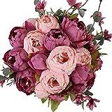 Nubry 2 Piezas Artificial Peonía Seda Flores Bouquet para Boda Inicio Jardín Fiesta Decoración (Nuevo Cameo Brown)