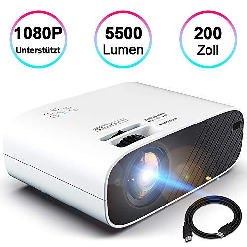 "Mini Beamer Full HD Video Projektor Heimkino Beamer Unterstützt 1920*1080 mit Dolby Sound 5500 Lumen 200\"" Display 55000St. LED HDMI/AV/VGA/USB/TF/Audio Anschlüsse, kompatibel mit TV Stick Xbox DVD PC"
