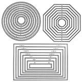 SourceTon 3 formas diferentes de troqueles de corte Plantilla Plantilla Moldes metálicos (rectángulo, círculo y octágono)para Scrapbook, Album Paper DIY Crafts & Card Making