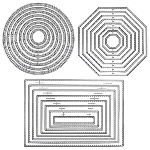 3 Different Shapes of Cutting Dies Stencil Metal Template Molds (Rectangle, Circle & Octagon), DaKuan 24 Pieces Embossing Tools for Scrapbook, Album Paper DIY Crafts, Card Making