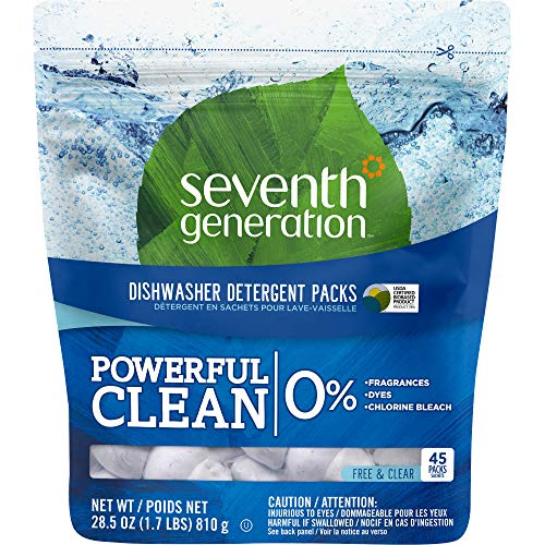Seventh Generation, Pacs Auto Dish Free & Clear 45 Count, 28.5 Ounce